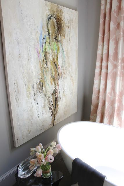 Pastel painting by Holly Irwin in bathroom