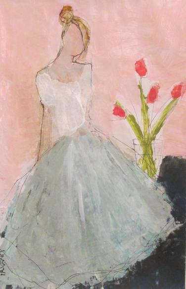 Beautiful painting by Holly Irwin with pink tulips