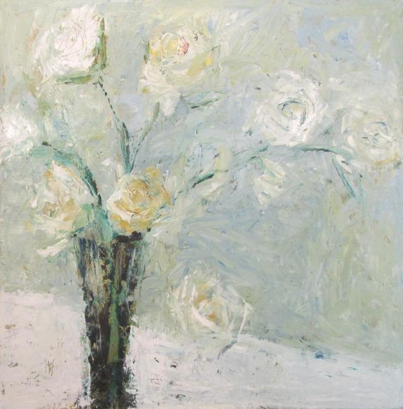 Gorgeous pastel white roses painting by Holly Irwin