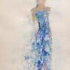 "The Periwinkle Dress 14x11"" Mixed media on paper matted"